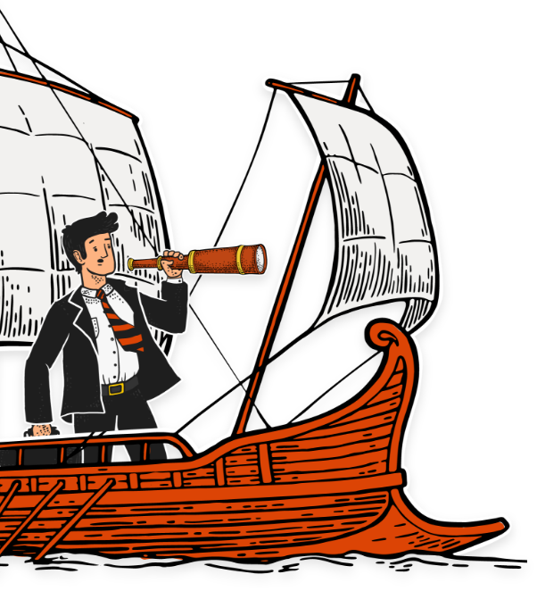 guy in suit on pirate ship with telescope