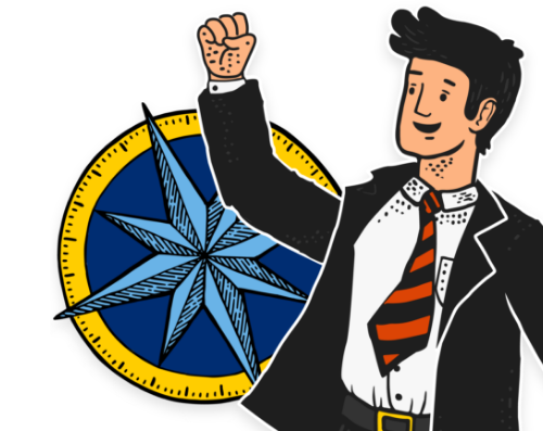 guy in suit raising fist in front of compass
