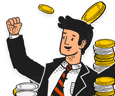 guy in suit surrounded by coins