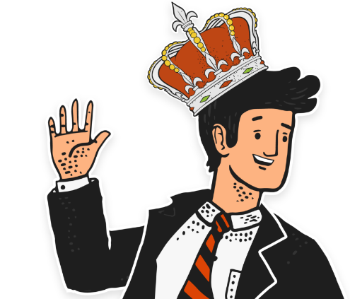 guy in suit wearing crown